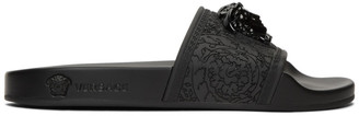 Versace Black Baroque Medusa Slides