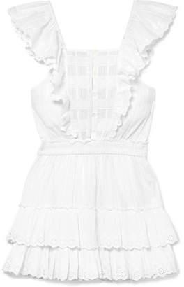 LoveShackFancy Margaret Ruffled Broderie Anglaise Cotton Mini Dress - White