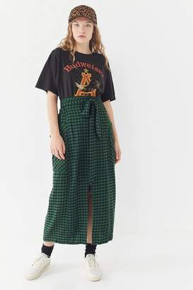 Urban Outfitters Dorothy Flannel Tie-Front Midi Skirt