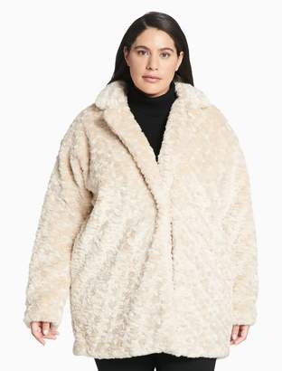 Calvin Klein plus size faux fur coat