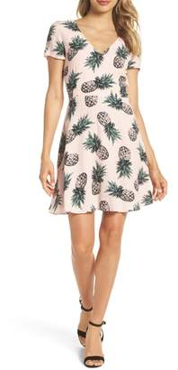 BB Dakota Pineapple Print Tie Back Fit & Flare Dress