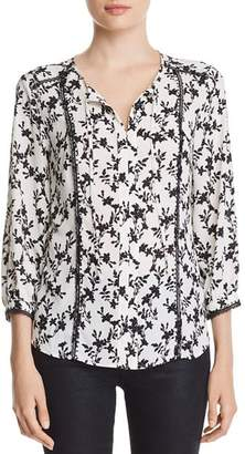 Karl Lagerfeld Paris Lace-Trimmed Floral-Print Peasant Top