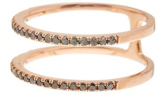 Ef Collection 14K Rose Gold Black Diamond Double Layer Ring - 0.30 ctw - Size 7