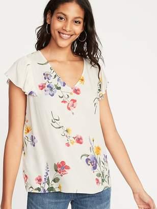 Old Navy Floral-Print Flutter-Sleeve V-Neck Top for Women