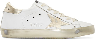 Golden Goose White & Gold Superstar Sneakers $495 thestylecure.com