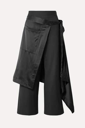 Monse Apron Satin-trimmed Charmeuse Wide-leg Pants - Black