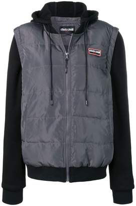 Roberto Cavalli logo patch down jacket