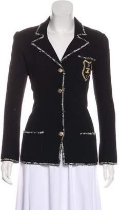 Chanel Tweed-Trimmed Wool Blazer
