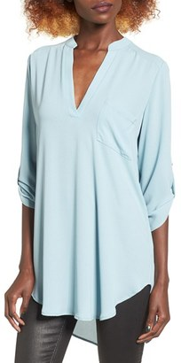 Women's Lush 'Perfect' Roll Tab Sleeve Tunic $42 thestylecure.com