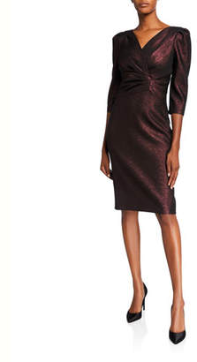 Rickie Freeman For Teri Jon Stretch Metallic 1/2-Sleeve Draped Surplice Dress
