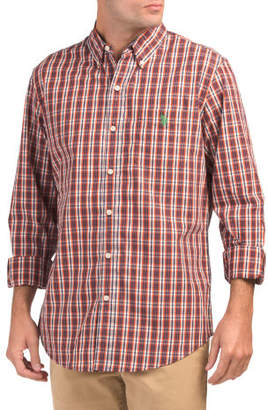 Long Sleeve Peached Poplin Plaid Shirt