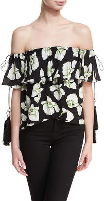 Cinq à Sept Orchid Kahlia Off-the-Shoulder Floral-Printed Blouse