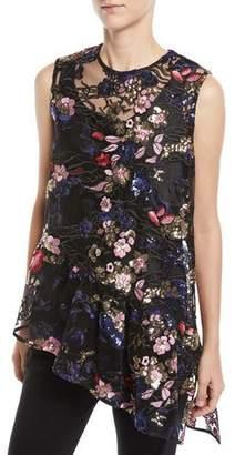 Mestiza New York Marguerite Sheer Floral & Asymmetric Ruffle Top