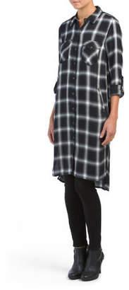 Plaid Button Down Tunic Dress