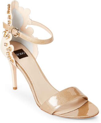 Rodo Crystal-Embellished Glitter & Leather Sandals