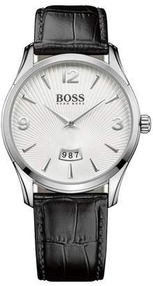 BOSS Men's Commander Croc Embossed Leather Watch, 41mm