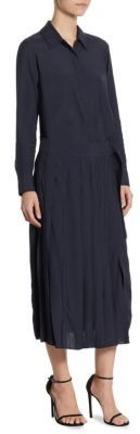 DKNY Long Sleeve Collared Shirt Dress