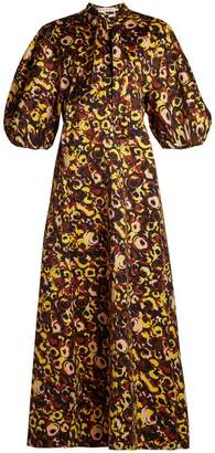 Marni Floral Print Tie Neck Cotton Dress - Womens - Yellow Multi