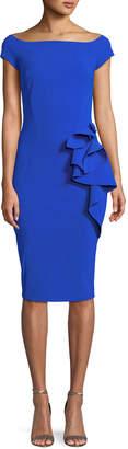 Chiara Boni Lilas Short-Sleeve Dress w/ Ruffle Detail