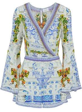 Camilla Come As You Are Wrap-Effect Embellished Printed Silk Playsuit
