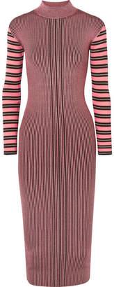 McQ Striped Ribbed-knit Turtleneck Midi Dress - Fuchsia