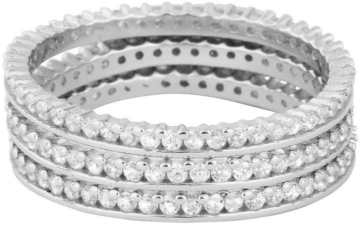 Love SILVER STERLING SILVER CUBIC ZIRCONIA 3 STACKING RING