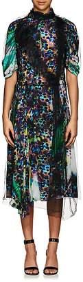 Prada Women's Tulle-Overlay Liquid-Daisy-Print Silk Dress
