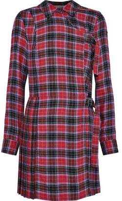 Opening Ceremony Pleated Checked Flannel Mini Dress