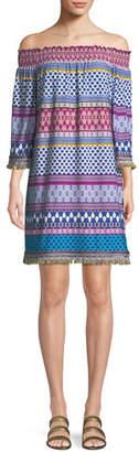 Trina Turk Emilia Off-the-Shoulder Print Stripe Jersey Dress