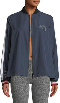 The Upside Indigo Ash Zip-Front Woven Jacket