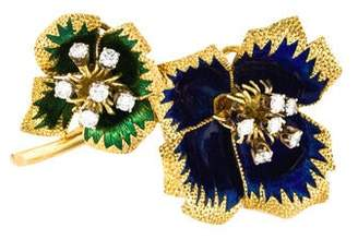 18K Diamond & Enamel Flower Brooch