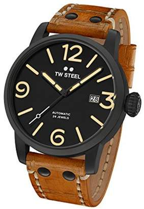 TW Steel Maverick Unisex Automatic Watch with Black Dial Analogue Display and Brown Leather Strap MS35