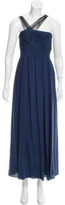 Robert Rodriguez Sleeveless Pleat-Accented Gown