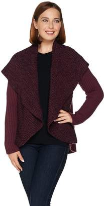 Lisa Rinna Collection Open Front Shawl Collar Wrap Sweater