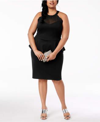 Monteau Trendy Plus Size Peplum Bodycon Dress