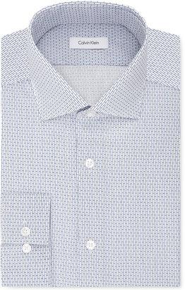 Calvin Klein STEEL Men's Slim-Fit Non-Iron Performance Blue Print Dress Shirt $75 thestylecure.com