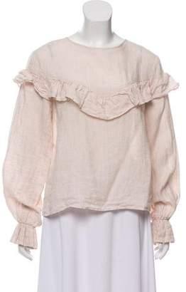 Anine Bing Linen Long Sleeve Top