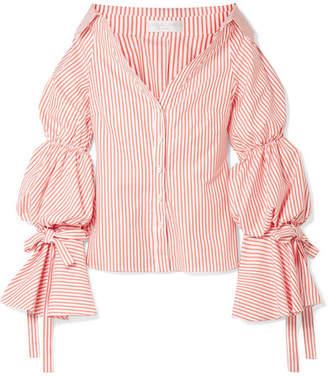 Caroline Constas Margaret Off-the-shoulder Striped Cotton-poplin Shirt