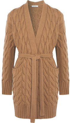 Max Mara Cable-knit Wool And Cashmere-blend Cardigan - Camel