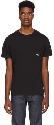 MAISON KITSUNÉ Black Quadri Fox Patch Pocket T-Shirt