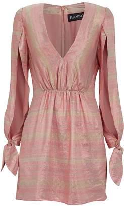 HANEY Joplin Gathered Metallic Silk Mini Dress