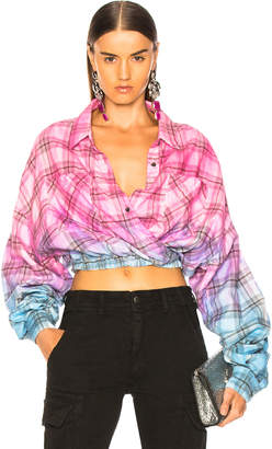 Amiri Plaid Crossover Oversized Shirt in Pink & Blue | FWRD