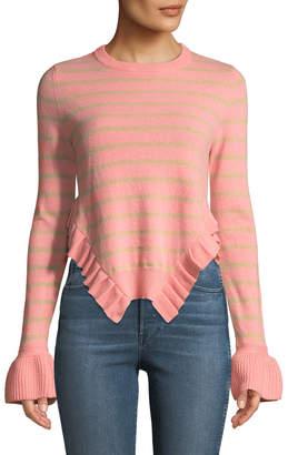 Tabula Rasa Kabylie Striped Wool Asymmetric-Ruffled Sweater