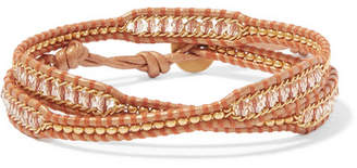 Chan Luu Leather And Gold-tone Beaded Wrap Bracelet - Beige