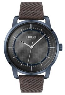 HUGO Textured-dial watch with embossed leather strap