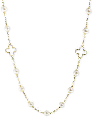 "Effy Pearl by White Cultured Freshwater Pearl (6mm) 32"" Statement Necklace in 14k Gold"