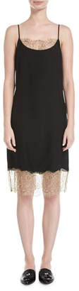 Robert Rodriguez Slip Camisole Dress W/ Lace Detail, Black