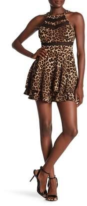 Love, Nickie Lew Leopard Print Halter Illusion Skater Dress