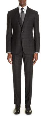 Emporio Armani M-Line Trim Fit Plaid Wool Suit