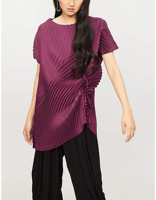 Issey Miyake Circle-pleated asymmetric top